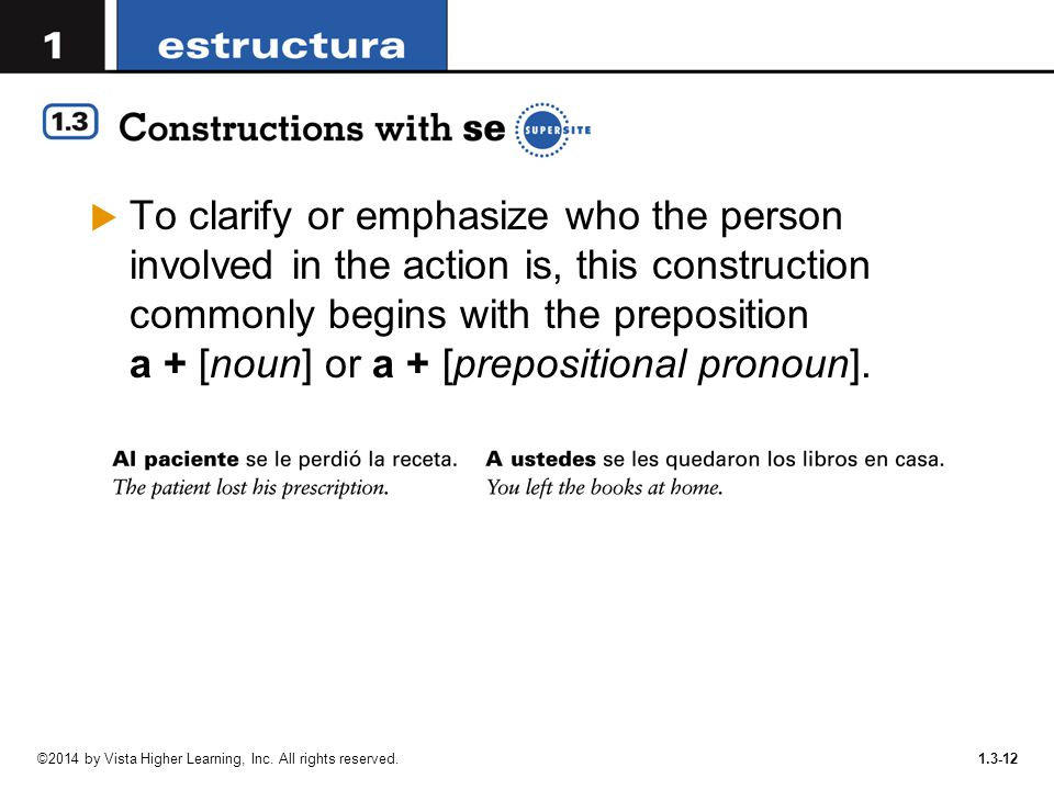 To clarify or emphasize who the person involved in the action is, this construction commonly begins with the preposition a + [noun] or a + [prepositional pronoun].